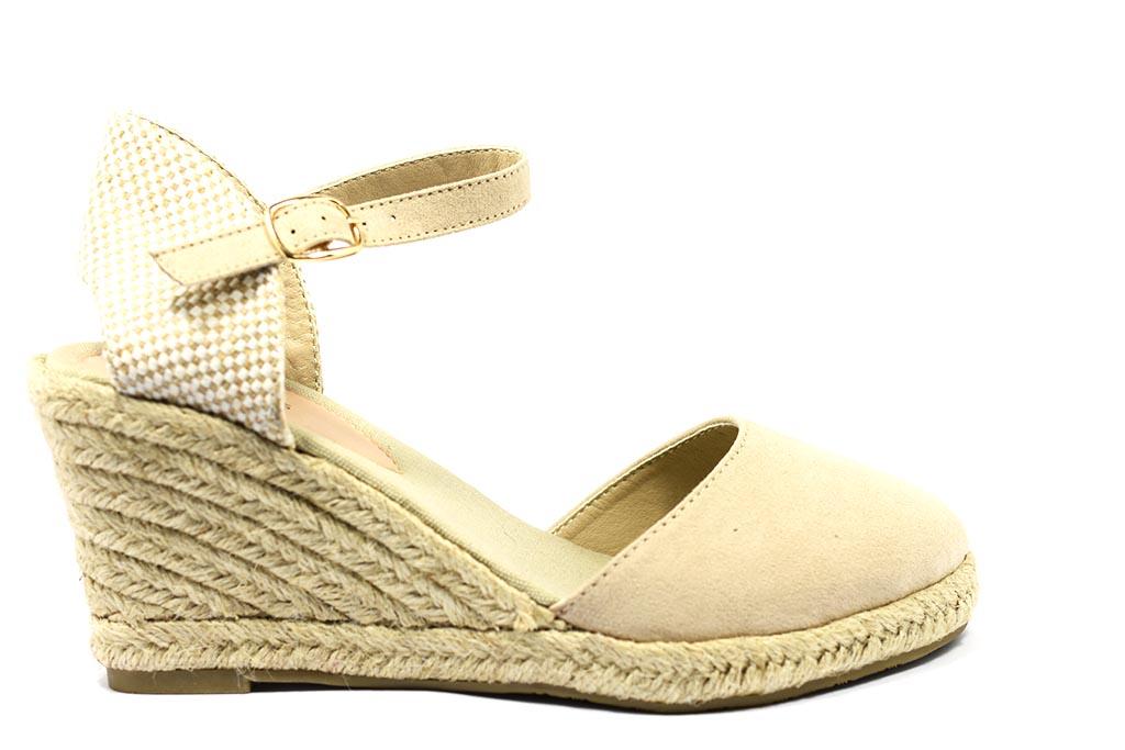 Sandalo zeppa spuntato in camoscio Kerri | Sara P. Shoes