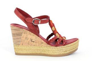 Sandalo zeppa in cuoio e vera pelle