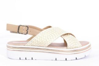 Sandalo zeppa con fasce in rettile