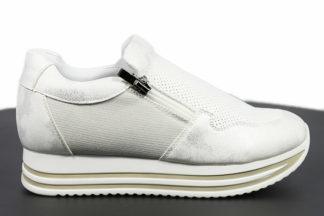 Sneakers bianche da donna doppia zip