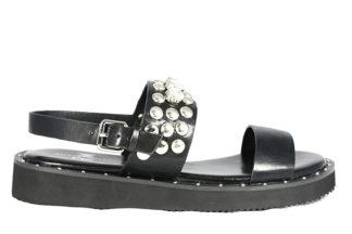 Sandalo basso nero vera pelle