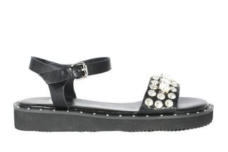Sandalo nero basso vera pelle