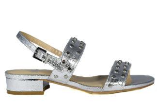 Sandalo laminato con tacco basso
