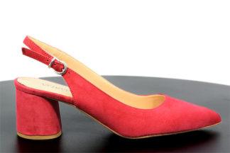Sandalo rosso in vera pelle