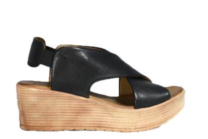 Sandalo zeppa vera pelle