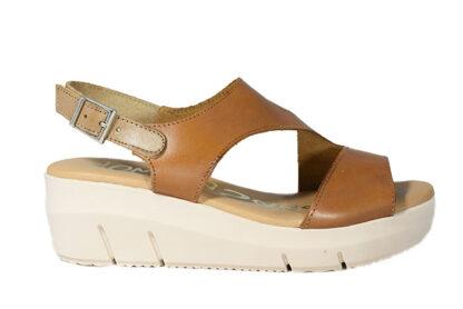 Sandalo zeppa in vera pelle