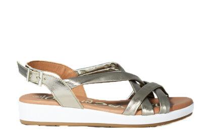 Sandalo basso con zeppa bianca