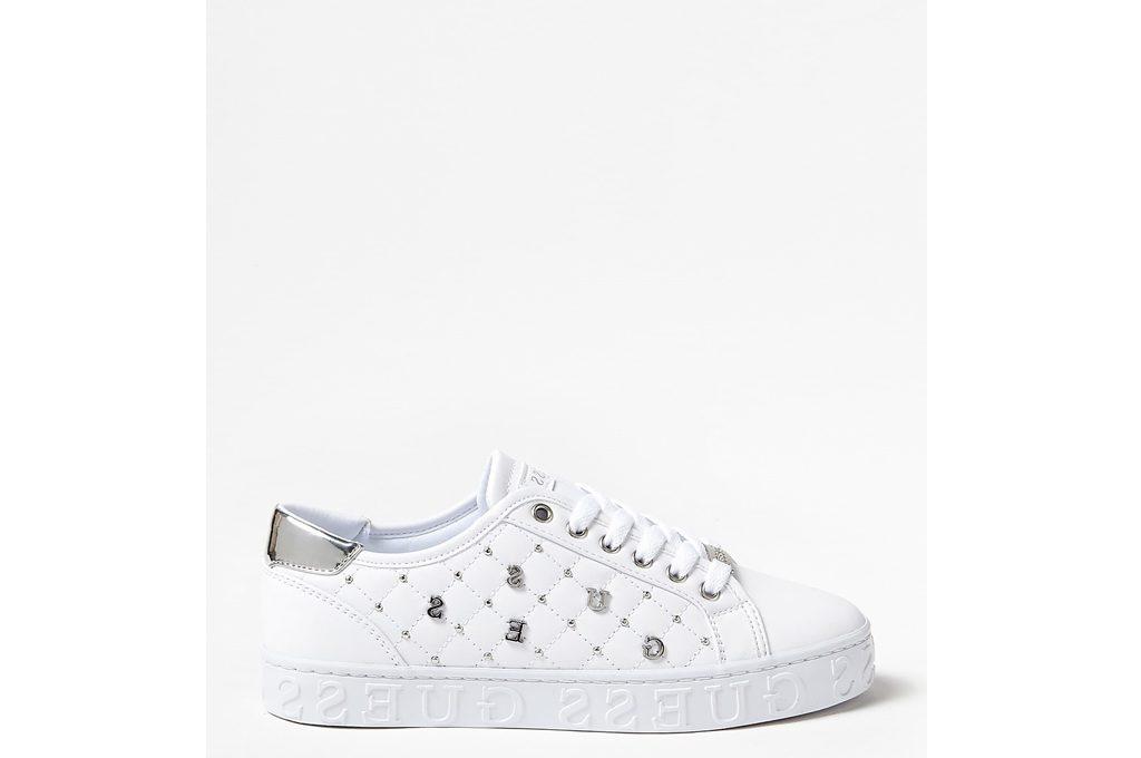 Guess Donna Bianco Sneaker In Pelle Logata Con Applicazione