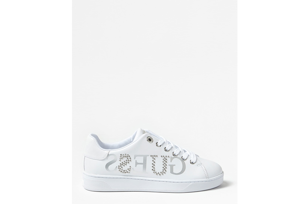 Guess Sneakers Alte Donna Pelle Bianca con Logo COD