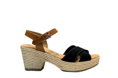 Sandalo nero fascia incrocio