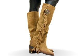 Stivale cuoio da donna con frange Pocahontas
