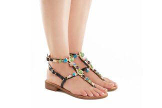 Sandalo Positano Nero Queen Helena scarpe estive comode Y2019 (2)