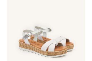 Sandalo donna bianco vera pelle Amy - oh! my sandals sandali con memory foam (1)