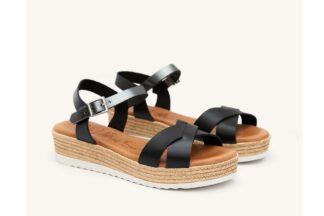 Sandalo donna nero vera pelle Amy - oh! my sandals sandalo da donna comodo estivo (1)