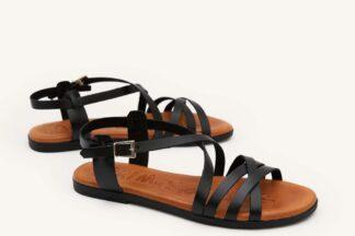 Sandalo donna nero vera pelle Erica sandalo estivo comodo oh my sandals (4)