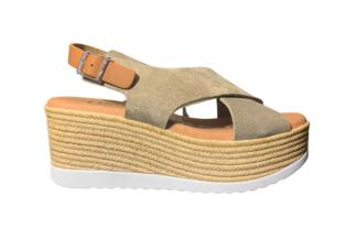 Sandalo donna taupe fascia incrocio Martina - oh! my sandals sandalo da donna morbidi estivi (1)