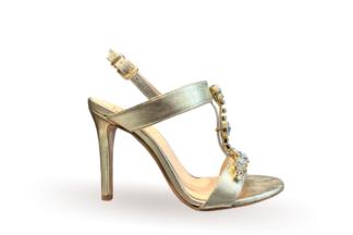 Sandalo elegante Laminato Platino scarpe da donna con il tacco (1)