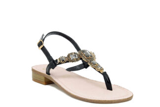 Sandalo Positano Nero tacco basso Queen Helena sandalo comodo per la donna Y3028_BLACK3 (2)
