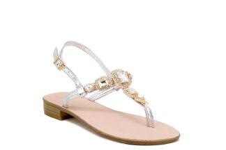 Sandalo Positano Silver tacco basso Queen Helena Y3028 sandalo estivo comodo per la donna (2)