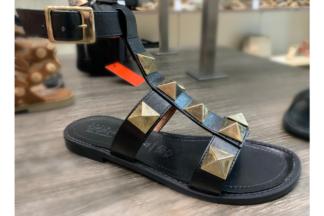 Sandalo gladiator borchie Veronica sandali made in italy in vera pelle sandalo con suola in cuoio