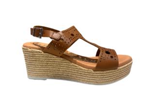 Sandalo zeppa cuoio traforato Maria - oh! my sandals 4867 cuoio sandali comodi (1)