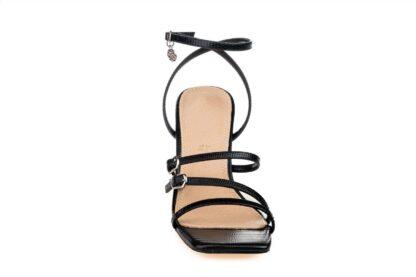 Sandalo elegante nero con tacco Rebecca sandalo sportivo effetto pitonato (1)