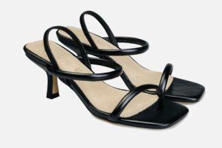 Sandalo nero con tacco Domy sandalo chic alla moda (1)