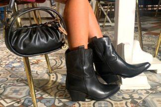 Stivaletto texano liscio nero Ava stivali in pelle per la dona
